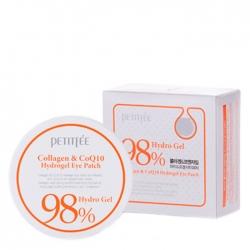Petitfee Collagen & Q10 Hydrogel Eye Patch - Гидрогелевые патчи для век с морским коллагеном и коэнзимом Q10, 60 шт