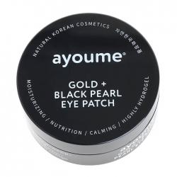 Ayoume Gold + Black Pearl Eye Patch - Патчи для век с золотом и чёрным жемчугом, 60 шт