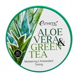 Esthetic House Aloe Vera & Green Tea Hydrogel Eye Patch - Патчи для век с алоэ и зелёным чаем, 60шт
