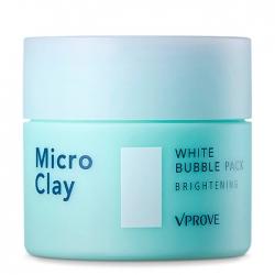 Vprove Micro Clay White Bubble Pack Brightening - Пенная маска Осветляющая для чувствительной кожи лица с чёрной глиной, 70 мл