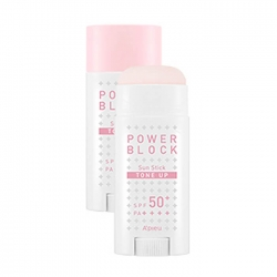 A'pieu Power Block Tone Up Sun Stick Pink - Стик для лица солнцезащитный SPF50+/PA++++ 15гр
