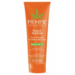 Hempz Yuzu & Starfruit Touch of Summer Medium Skin - Молочко солнцезащитное для тела с бронзантом темного оттенка Юдзу и Карамбола SPF30, 200 мл