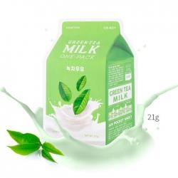 A'Pieu Green Tea Milk One-Pack - Тканевая маска с молочными протеинами и экстрактом зелёного чая 21 мл