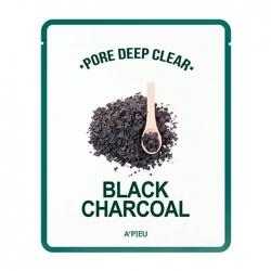 A'Pieu Pore Deep Clear Black Charcoal Mask - Тканевая маска с древесным углем для сужения пор на лице 25 мл