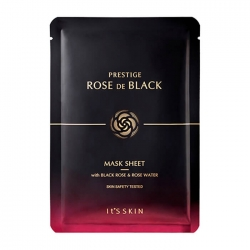 It's Skin Prestige Rose De Black Mask Sheet - Маска тканевая с экстрактом розы для лица, 23 мл