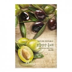 Nature Republic Real Nature Mask Sheet Olive - каневая маска для лица с экстрактом плодов оливы, 23мл