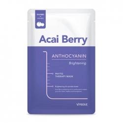 Vprove Phyto Therapy Mask Sheet Anthocyanin Brightening - Тканевая маска Осветляющая с экстрактом ягод асаи, 20 мл