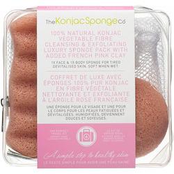 The Konjac Sponge Company Travel/Gift Sponge Bag Duo Pack With Pink Clay - Дорожный набор спонжей в косметичке-сеточке с розовой глиной
