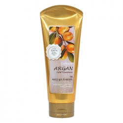 Welcos Confume Argan Gold Treatment – Увлажняющая маска с аргановым маслом и с золотом для поврежденных волос, 200 мл